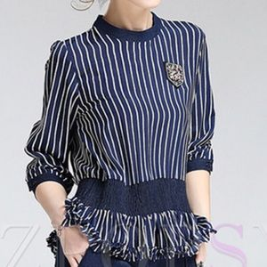 Vertically Striped Navy Blouse